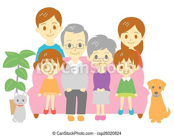 Familia, sofá, familia de tres generaciones - csp26020824