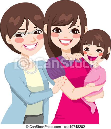 Tres generaciones de mujeres japonesas - csp19748202