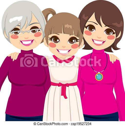 Tres generaciones de mujeres de familia - csp19527234