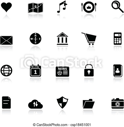 General application icons with reflect on white background - csp18451001