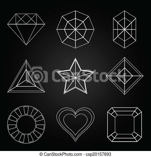 General gem shape icons on dark background - csp20157693