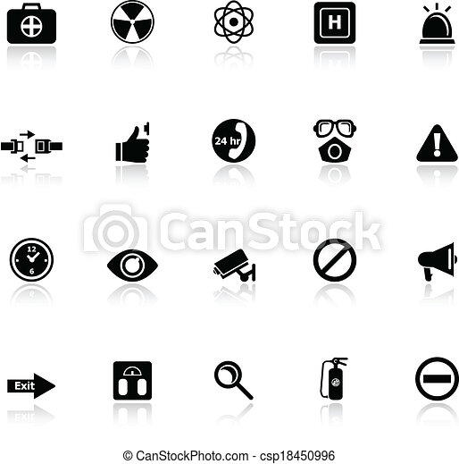 General healthcare icons with reflect on white background - csp18450996