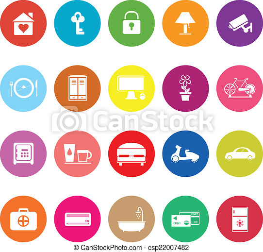 General home stay flat icons on white background - csp22007482