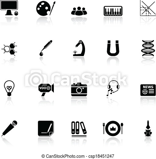 General learning icons with reflect on white background - csp18451247