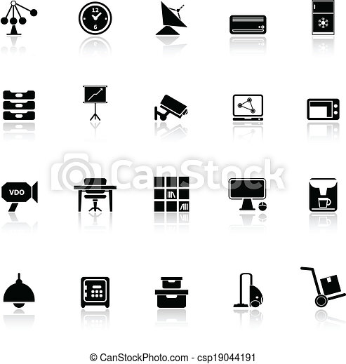 General office icons with reflect on white background - csp19044191
