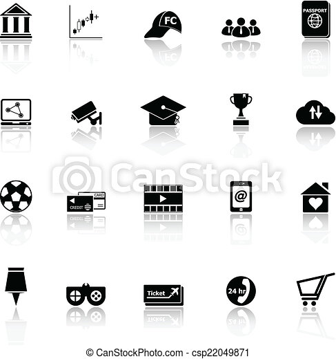 General online icons with reflect on white background - csp22049871
