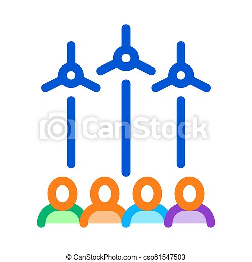 general review wind energy technicians icon vector outline illustration - csp81547503