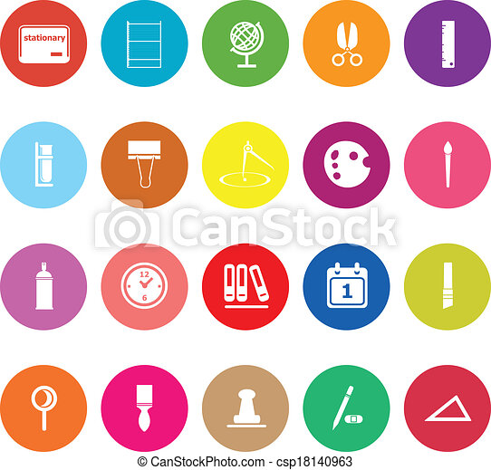 General stationary flat icons on white background - csp18140963