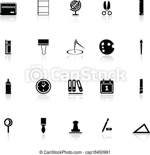 General stationary icons with reflect on white background - csp18450991