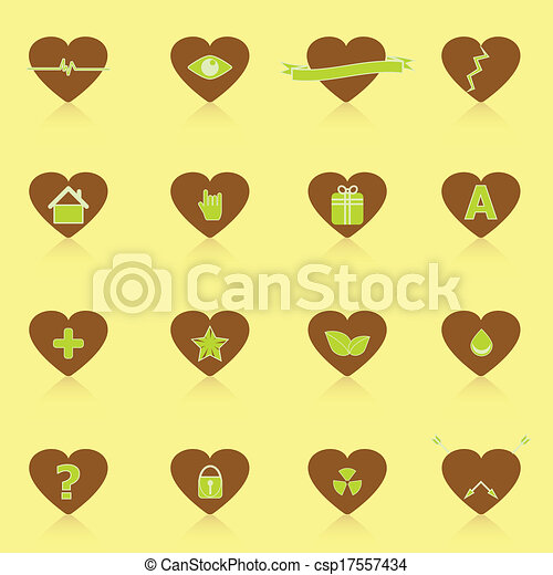 General symbol in heart shape icons with reflect - csp17557434