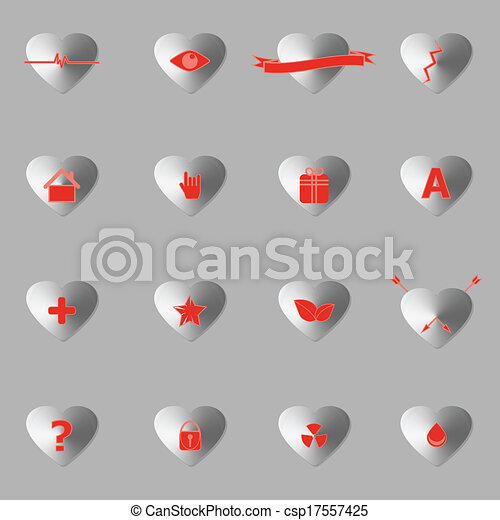 General symbol in heart shape icons with shadow - csp17557425