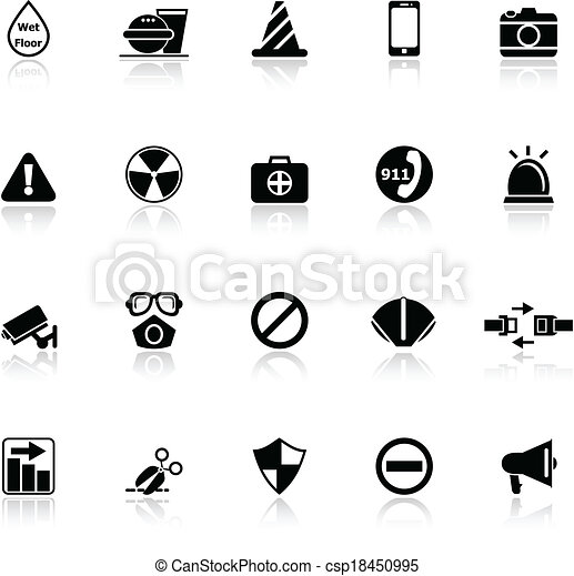 General useful icons with reflect on white background - csp18450995