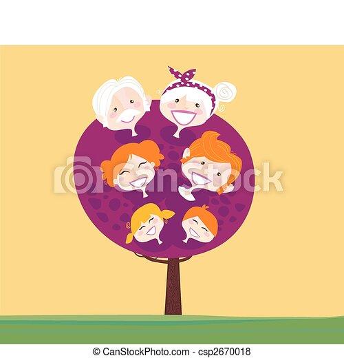 generatie, grote boom, gezin - csp2670018