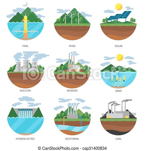 Generation energy types. Power plant icons vector set - csp31400834