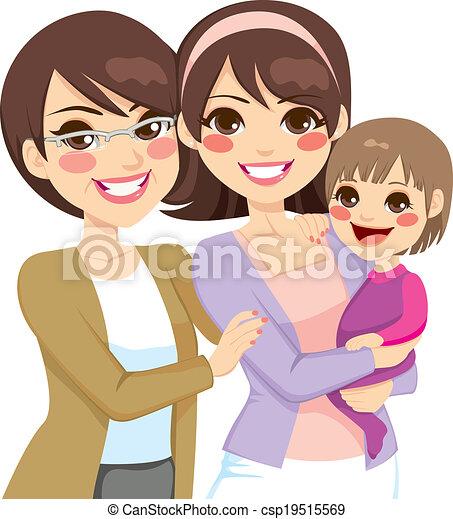 generation, junge familie, drei - csp19515569