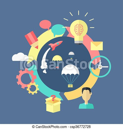 Generation of ideas banner design. process of creation and... vector ...