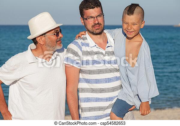 Generations Father Son Grandfather Sea - csp54582653