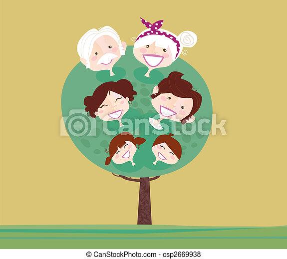 generazione, albero grande, famiglia - csp2669938