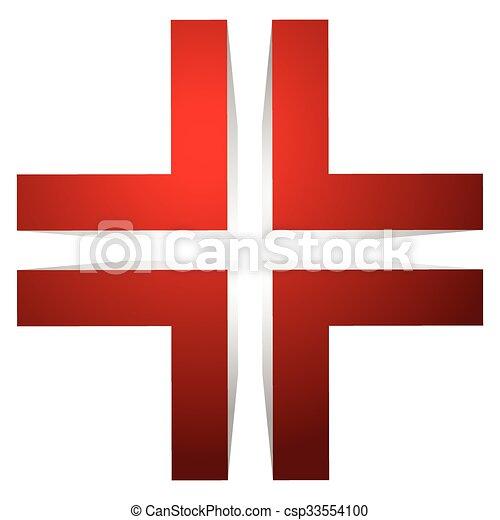 Generic 3d Cross Icon Double Cross Design Element
