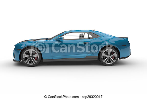 Generic Blue Sport Car On A White Background   Csp29320017