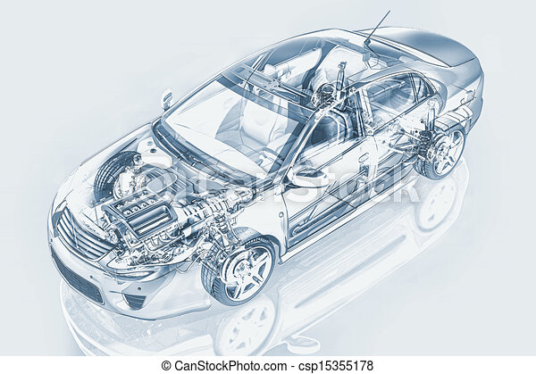 Generic sedan car detailed cutaway representation, with ghost effect, in pencil drawing style, on neutral backgound. Clipping path included. - csp15355178