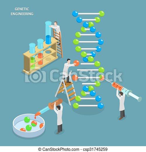 genetic engineering isometric flat vector concept. Black Bedroom Furniture Sets. Home Design Ideas