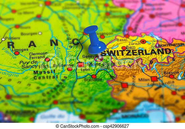 Geneva switzerland map Geneva in switzerland pinned on clip art