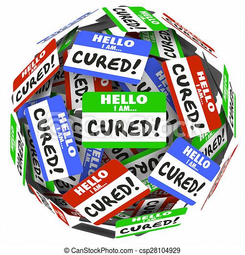 genezen, naam, markeringen, geheelde, beter, gezondheid, behandeling, woorden, hallo - csp28104929