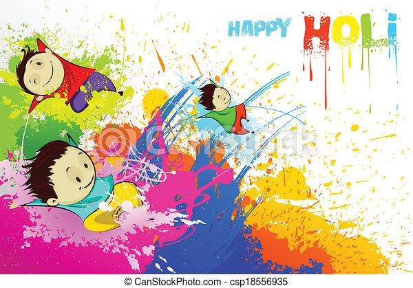 Kinder genießen Holi - csp18556935