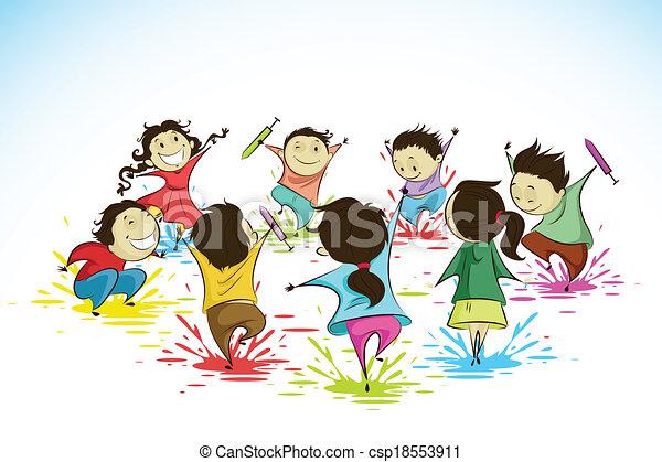 Kinder genießen Holi - csp18553911