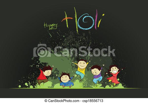 Kinder genießen Holi - csp18556713