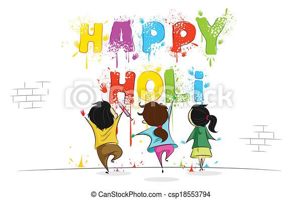 Kinder genießen Holi - csp18553794