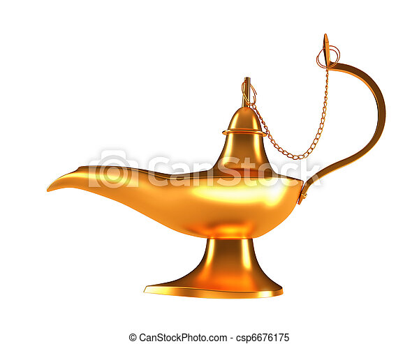 Genie golden lamp isolated on white - csp6676175