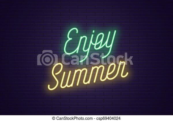 genieten, lettering, tekst, neon, gloeiend, summer. - csp69404024
