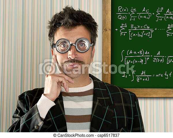 Genius nerd glasses silly man board math formula - csp6517837