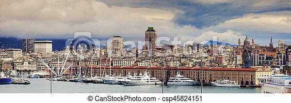 Genoa - panoramic view of the city - csp45824151