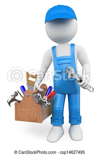 gens., bricoleur, blanc, boîte outils, 3d - csp14627495
