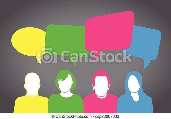 gens, coloré, parler - csp23007033