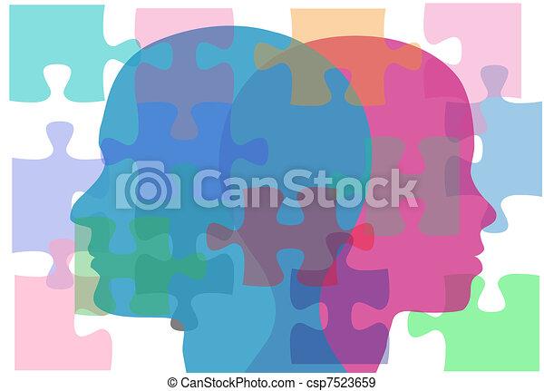 gens, couple, problèmes, solution, femme, mâle, puzzle - csp7523659