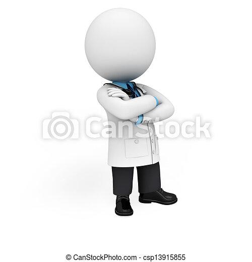 gens, docteur, 3d, blanc - csp13915855