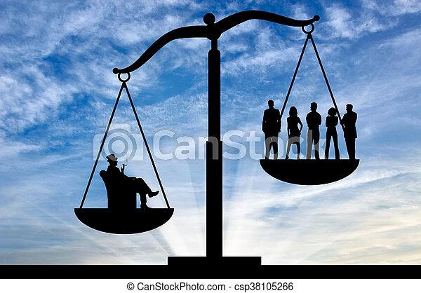 gens, entre, inégalité, riche, social, ordinaire - csp38105266