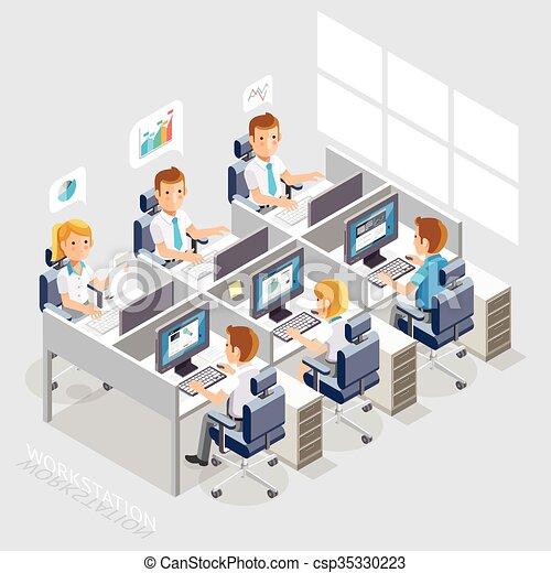 gens, fonctionnement, business, style., espace, isométrique, travail bureau, desk., plat - csp35330223