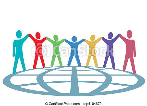 gens, globe, haut, bras, couleurs, mains, prise - csp4104672