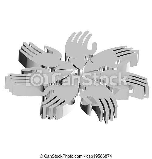 gens, gris, collaboration, mains, logo, 3d - csp19586874