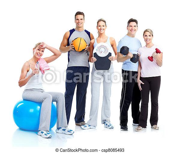 gens., gymnase, fitness., sourire - csp8085493