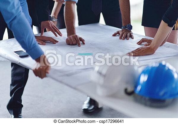 gens, ingénieurs, réunion, construction, business - csp17296641