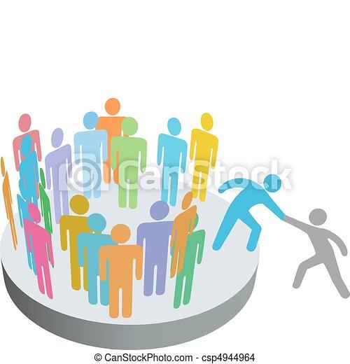 gens, joindre, aides, personne, membres, groupe, compagnie, assistant - csp4944964