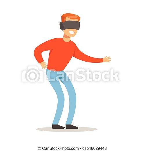 gens, jouer, avoir, réalité, heureux, jeu, lunettes, jeu, vidéo, amusement, informatique, virtuel, homme, partie, intérieur, gamers, apprécier - csp46029443