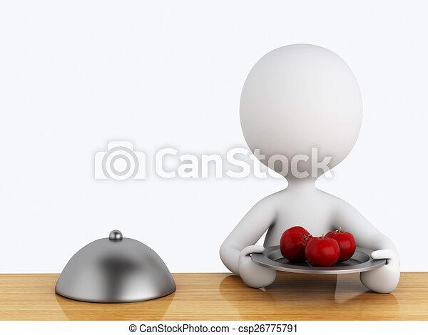 Gens Nourriture Saine Blanc Cuisine 3d