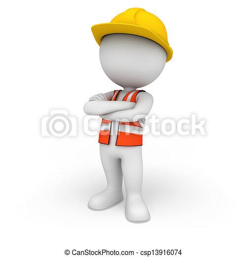 gens, ouvrier route, 3d, blanc - csp13916074